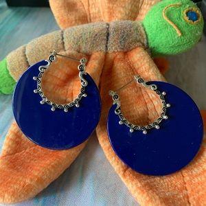 Large Blue Circle Earrings Silvertone Design
